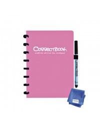 Notitieboek correctbook uitwisbaar en herbruikbaar a5 roze lijn 40blz
