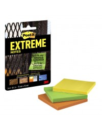 Memoblok post-it extreme ext33m 76x76mm 3 kleuren assorti