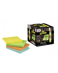Memoblok post-it extreme ext12m 76x76mm 4 kleuren assorti