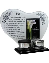 Waxinehouder in memoriam overleden glas hart met mini urn gedicht Pa...