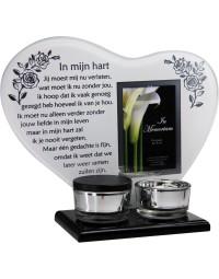 Waxinehouder in memoriam overleden glas hart met mini urn gedicht In mijn hart...