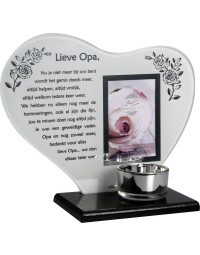 Waxinehouder in memoriam overleden glas hart met gedicht Lieve Opa ...