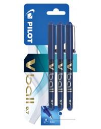 Rollerpen pilot v-ball grip v7 blauw 0.4mm blister à 3 stuks