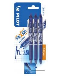 Rollerpen pilot frixion clicker blauw 0.35mm blister à 3 stuks
