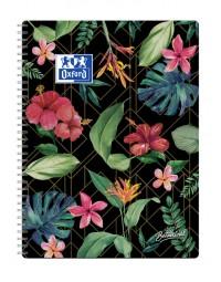 Spiraalblok oxford botanical a4+ lijn 80vel zwart