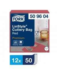 Servetten tork 509604 linstyle pochette 19.5x9.8cm rood 50st