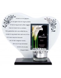 Waxinehouder in memoriam overleden glas hart met gedicht Je bent zo snel gegaan...