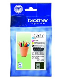 Inkcartridge brother lc-3217 zwart + 3 kleuren