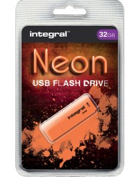 Usb-stick 2.0 integral 32gb neon oranje