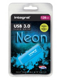 Usb-stick 3.0 integral 128gb neon blauw