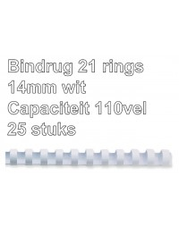 Bindrug fellowes 14mm 21rings a4 wit 25stuks