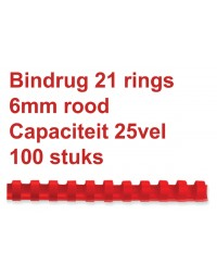Bindrug fellowes 6mm 21rings a4 rood 100stuks