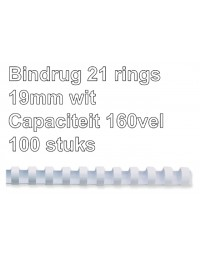 Bindrug gbc 19mm 21rings a4 wit 100stuks