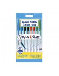 Balpen paper mate entry line 045 1.0mm assorti zakje à 8 stuks
