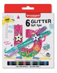 Viltstift bruynzeel kids glitter blister à 6 stuks assorti