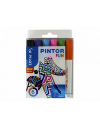Viltstift pilot pintor fun 1.0mm ass etui à 6 stuks assorti