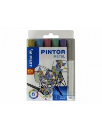 Viltstift pilot pintor metalic 1.0mm ass etui à 6 stuks assorti