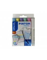 Viltstift pilot pintor pastel 1.0mm ass etui à 6 stuks assorti