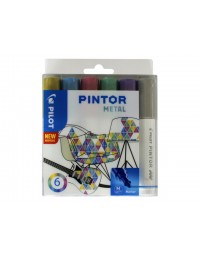 Viltstift pilot pintor metalic 1.4mm ass etui à 6 stuks assorti