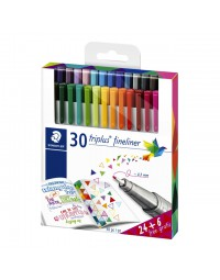 Fineliner staedtler triplus 334 0,3mm assorti set à 24 + 6 gratis