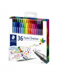 Fineliner staedtler triplus 334 0,3mm assorti set à 26 + 10 gratis