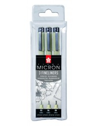 Fineliner sakura pigma micron blister 3 stuks zwart