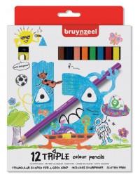 Kleurpotlood bruynzeel kids triple blister à 12 stuks assorti