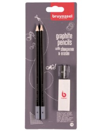 Potlood bruynzeel teens hb met gum en puntenslijper in blister