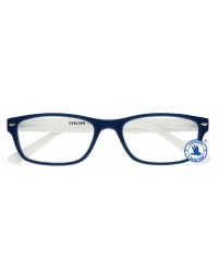 Leesbril x +1.00 feeling blauw-wit