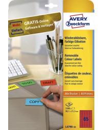 Etiket avery l4790-20 38.1x21.2mm rood 1300stuks