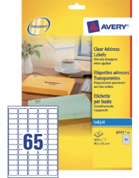 Etiket avery j8551-25 38.1x21.2mm transparant 1625stuks