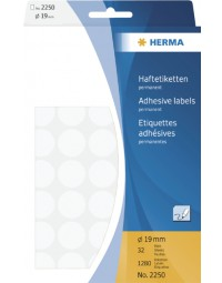 Etiket herma 2250 rond 19mm wit 1280stuks