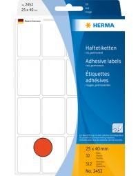 Etiket herma 2452 25x40mm rood 512stuks