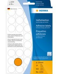 Etiket herma 2254 rond 19mm fluor oranje 960stuks