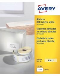Etiket avery r5012 thermisch 89x28mm wit 260stuks