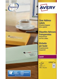Etiket avery l7551-25 38.1x21.1mm transparant 1625stuks