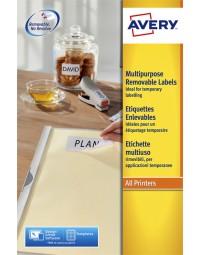 Etiket avery l6025rev-25 63.5x46.6mm afneembaar wit 450stuks