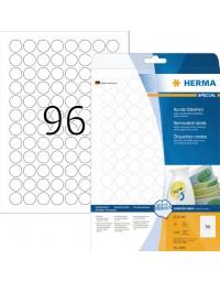 Etiket herma 4386 rond 20mm verwijderbaar wit 2400stuks