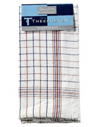 Theedoek felicia katoen blauw/wit 70x70cm 6 stuks