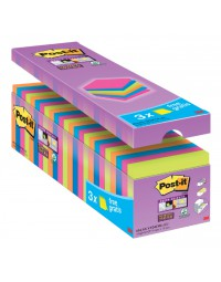 Memoblok 3m post-it 654 sscolcab super sticky 76x76mm 21+3 gratis assorti