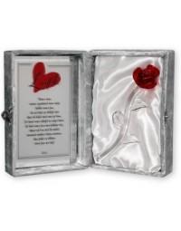 Glazen roos in box met een tekst spiegel liefde.... (23 x 16.5 cm)