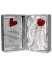 Glazen roos in box met een tekst spiegel Mijn Liefste.... (23 x 16.5 cm)