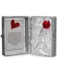 Glazen roos in box met een tekst spiegel Mijn Moeder.... (23 x 16.5 cm)