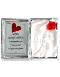 Glazen roos in box met een tekst spiegel Mijn Oma.... (23 x 16.5 cm)