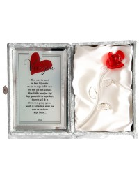 Glazen roos in box met een tekst spiegel Voor jou.... (23 x 16.5 cm)