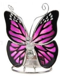 Glazen waxinelicht houder vlinder Tiffany 12 cm