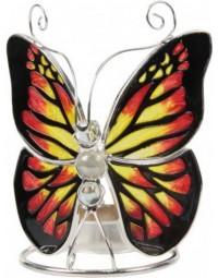 Glazen waxinelicht houder vlinder Tiffany