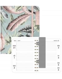 Hobbit schoolagenda 2021-2022 - ORGANIZER A6 D1 - elastieken band - verborgen ringband - 7 dagen over 2 pagina's - zachte kaft - 144 pagina's - blauw roze bladeren - klein A6 formaat