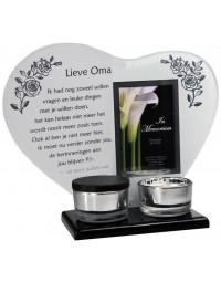 Waxinehouder in memoriam overleden glas hart met mini urn gedicht Lieve Oma...