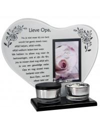 Waxinehouder in memoriam overleden glas hart met mini urn gedicht Lieve Opa ...